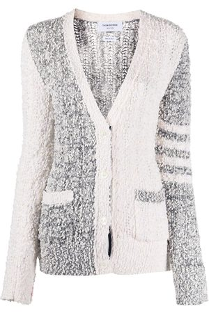 Thom Browne Women Cardigans - 4-Bar V-neck bouclé cable cardigan - Grey