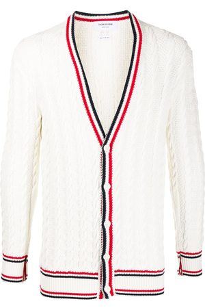 Thom Browne Men Cardigans - Heritage cable knit RWB stripe cardigan