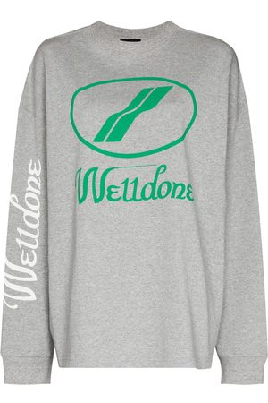 We11 Done Oversized-logo crew-neck sweatshirt - Grey