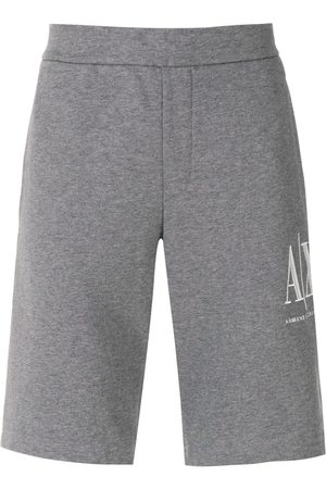 Armani Logo-embroidered track shorts - Grey