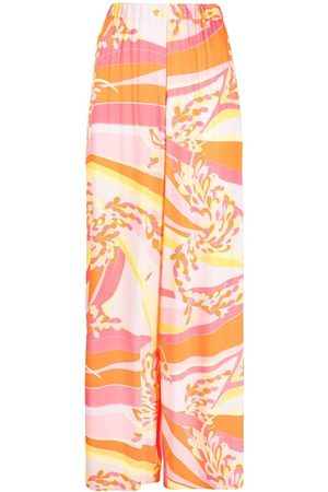 Emilio Pucci Women Wide Leg Pants - Lilly-print palazzo pants