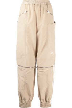 Stella McCartney Women Sweatpants - Logo stripe zip front track pants - Neutrals