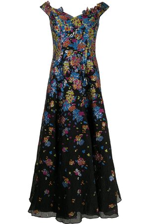 Marchesa Notte Floral-embroidery V-neck dress