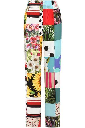 Dolce & Gabbana Women Wide Leg Pants - Patchwork wide-leg trousers - Neutrals