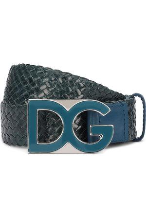 Dolce & Gabbana Men Belts - DG-plaque snakeskin-embossed belt