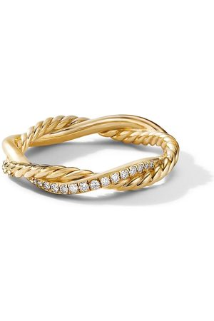 David Yurman 3.8mm 18kt yellow petite Infinity diamond ring