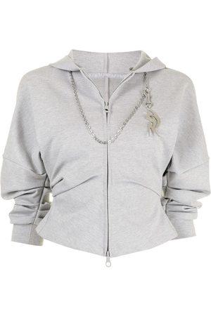 Ground Zero Draped-sleeve zipped hoodie - Grey