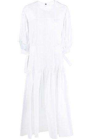 Jil Sander Pintuck-detail puff-sleeve dress