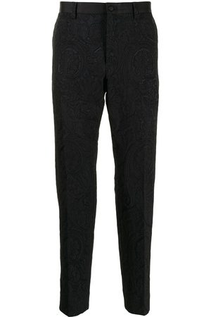 Dolce & Gabbana Patterned-jacquard pressed-crease trousers
