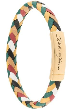 Dolce & Gabbana Men Bracelets - Engraved logo braided bracelet - Multicolour