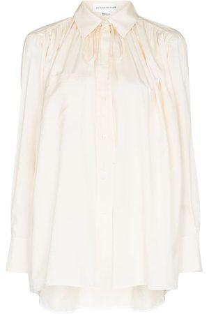 Victoria Beckham Tie-neck silk blouse - Neutrals