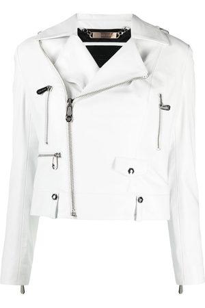 Philipp Plein Women Leather Jackets - Cropped leather biker jacket