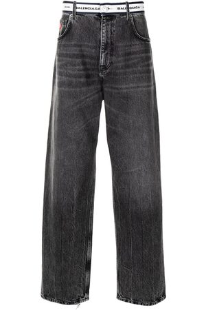 Balenciaga Straight - Logo-waistband straight-leg jeans