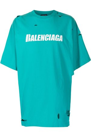 Balenciaga T-shirts - Ripped oversize logo T-shirt