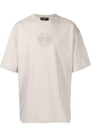 Balenciaga Logo-embroidered oversize T-shirt - Grey