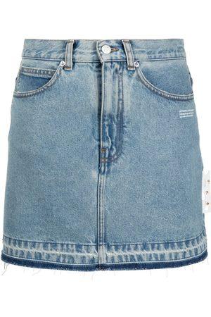 OFF-WHITE Raw hem denim mini skirt