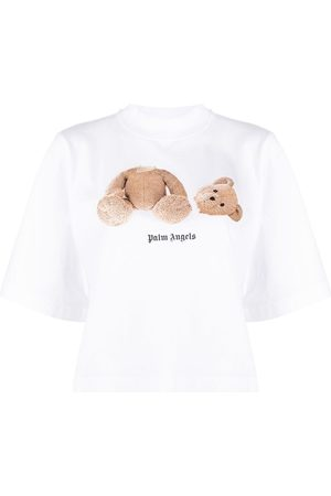 Palm Angels Women T-shirts - Cropped Bear print T-shirt