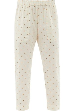 Loup Charmant Women Pants - Dot-embroidered Cotton Trousers - Womens