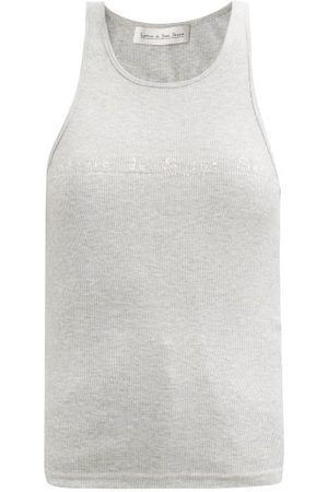 Ludovic De Saint Sernin Swarovski Crystal-logo Cotton-jersey Tank Top - Womens - Grey