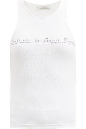 Ludovic De Saint Sernin Women Tank Tops - Swarovski Crystal-logo Cotton-jersey Tank Top - Womens