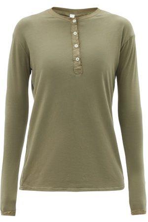 Domi Women Long Sleeve - Organic-cotton Blend Jersey Henley T-shirt - Womens - Khaki