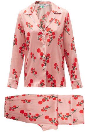 Bernadette Women Sweats - Red Blossom-print Silk-blend Satin Pyjamas - Womens