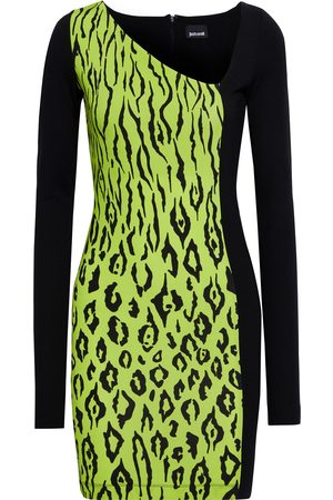 Roberto Cavalli Women Casual Dresses - Woman Paneled Leopard-print Stretch-jersey Mini Dress Lime Size 38