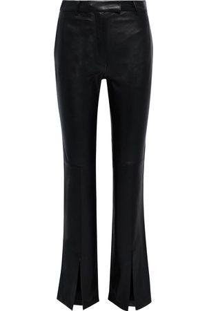 Roberto Cavalli Women Leather Pants - Woman Slit-front Monogram-trimmed Leather Bootcut Pants Size 40