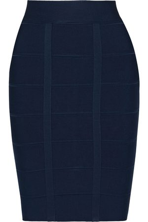 Hervé Léger Women Mini Skirts - Hervé Léger Woman Bandage Mini Skirt Navy Size L