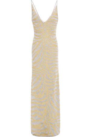 Hervé Léger Women Knitted Dresses - Hervé Léger Woman Metallic Zebra-print Stretch-knit Gown Size M