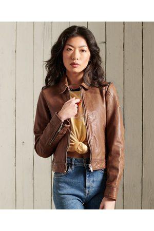 Superdry Women Leather Jackets - Cropped Leather Harrington Jacket