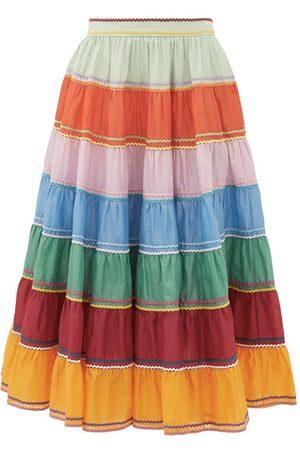 ZIMMERMANN Riders rickrack-trim cotton midi skirt
