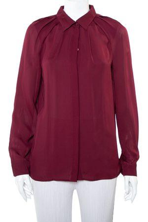Gucci Burgundy Silk Button Front Shirt M