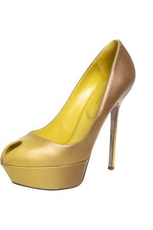 Sergio Rossi /Yellow Leather Peep Toe Platform Pumps Size 37