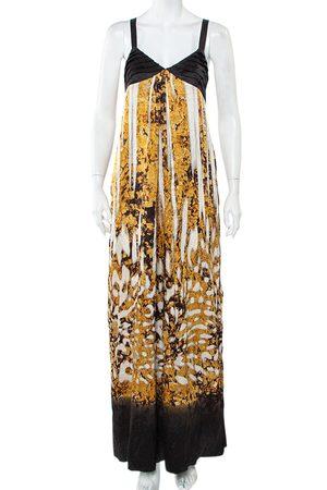 Roberto Cavalli Black & Printed Silk Glittered Open Back Maxi Dress M