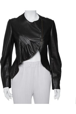 Saint Laurent Dark Leather Asymmetric Hem Cropped Jacket M