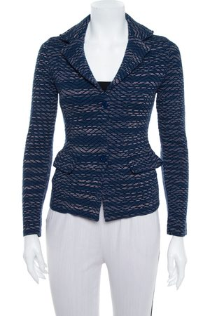 M Missoni Navy Jacquard Knit Button Front Blazer S