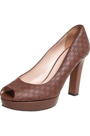 Gucci Microssima Leather Peep Toe Platform Pumps Size 38.5