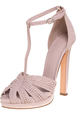 Alexander McQueen Woven Leather T-Bar Ankle Strap Platform Sandals Size 37