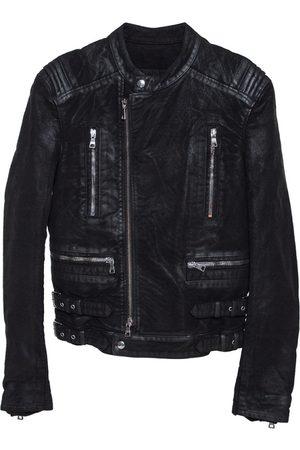 Balmain Coated Cotton Zip Front Biker Jacket S