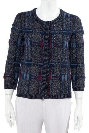 Diane von Furstenberg Navy Lurex Knit Button Font Hurleigh Cardigan S