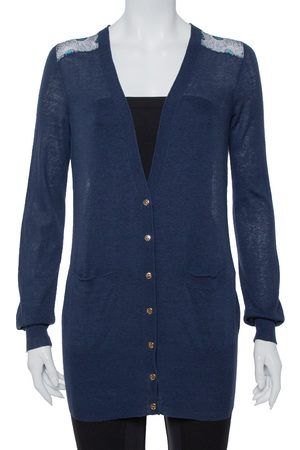 Tory Burch Navy Knit & Peacock Feather Printed Silk Button Front Cardigan XS