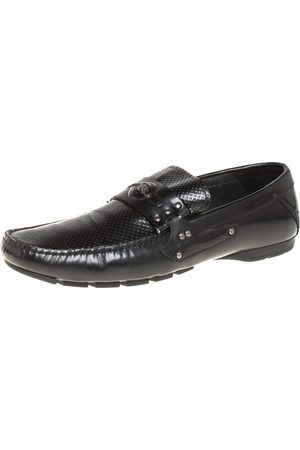 VERSACE Leather Medusa Detail Slip On Loafers Size 43