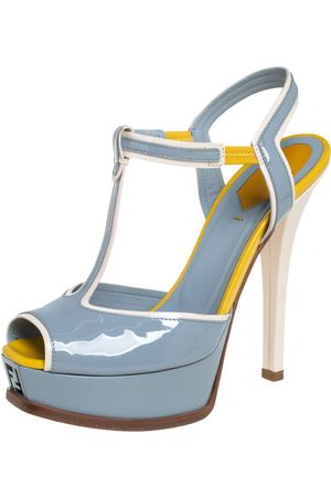 Fendi /Yellow Patent Leather T- Strap sta Platform Sandals Size 38