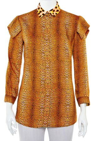 Roberto Cavalli Animal Printed Satin Button Front Shirt S