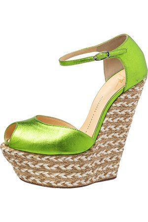 Giuseppe Zanotti Metallic Green Leather Wedge Platform Ankle Strap Espadrilles Size 37