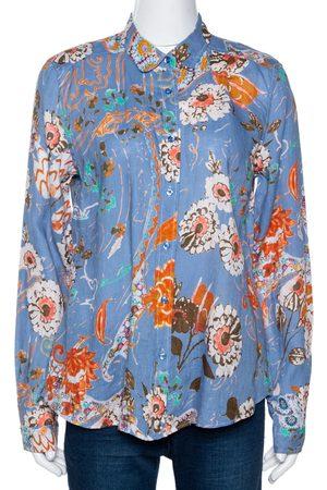 Etro Floral Printed Linen Button Front Shirt L