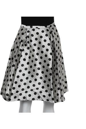Carolina Herrera CH Monochrome Polka Dot Satin Box Pleated Short Skirt XS