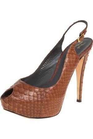 Gina Python Peep Toe Platform Slingback Sandals Size 39
