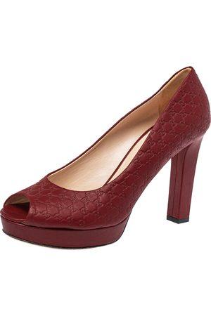 Gucci Microssima Leather Peep Toe Platform Pumps Size 39.5